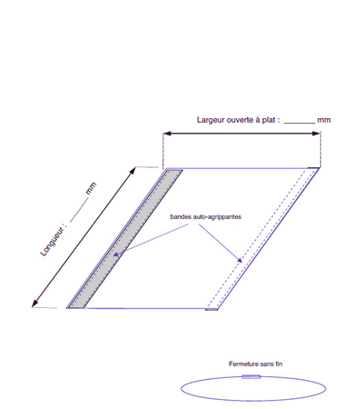 Tubulaire fermé par 2 bandes auto-agrippantes